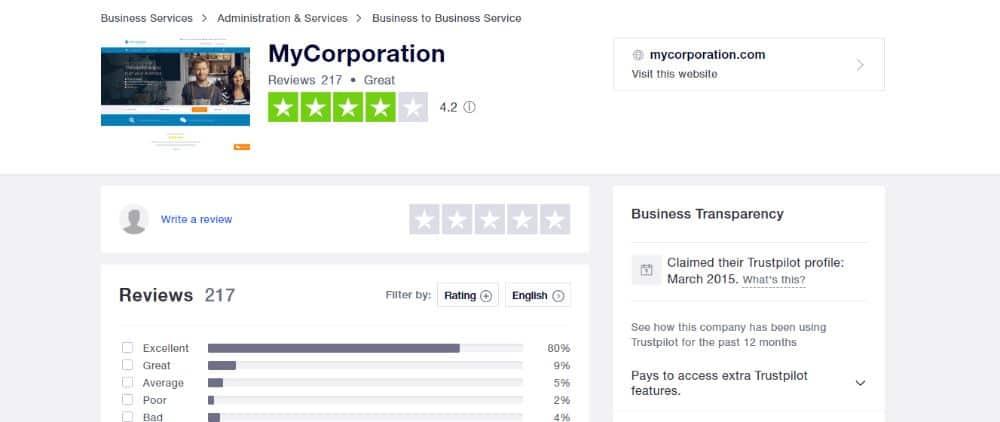 MyCorporation Rating On TrustPilot.