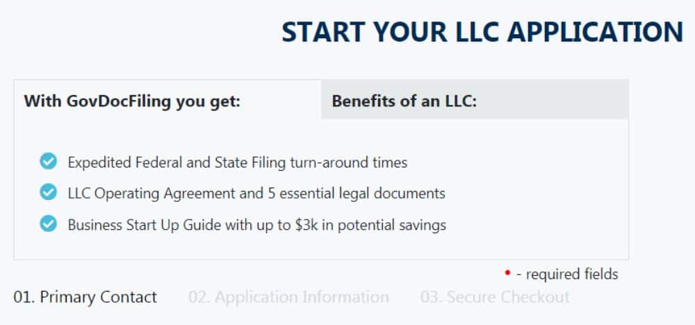 Starting an LLC with GovDocFiling.
