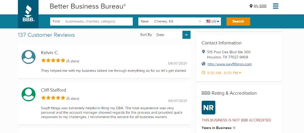 Swyft Filings Review on BBB.