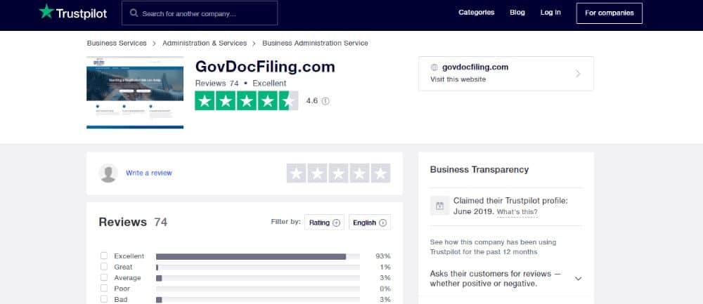 GovDocFiling on TrustPilot.