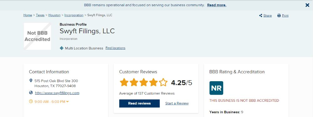 Swyft Filings Rating on BBB.