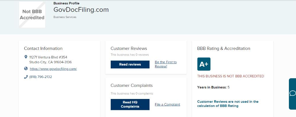 GovDocFiling Rating on BBB.