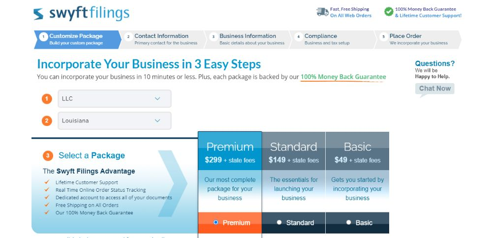 Swyft Filings Business Formation Packages.