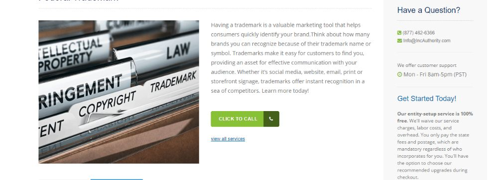 Inc Authority Trademark registration.