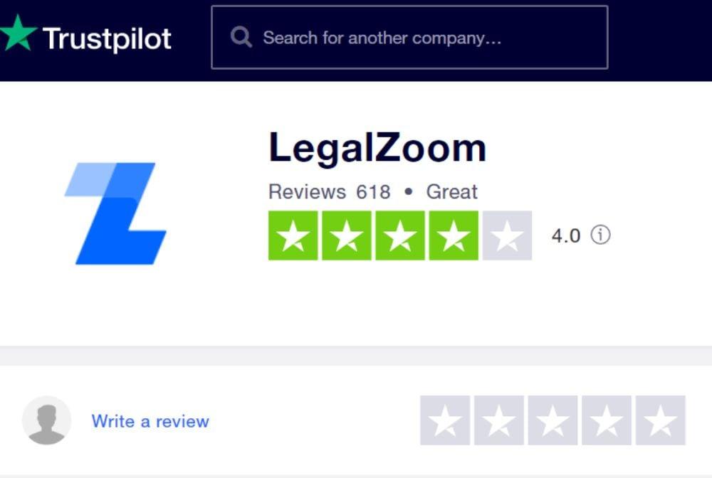 LegalZoom on TrustPilot.