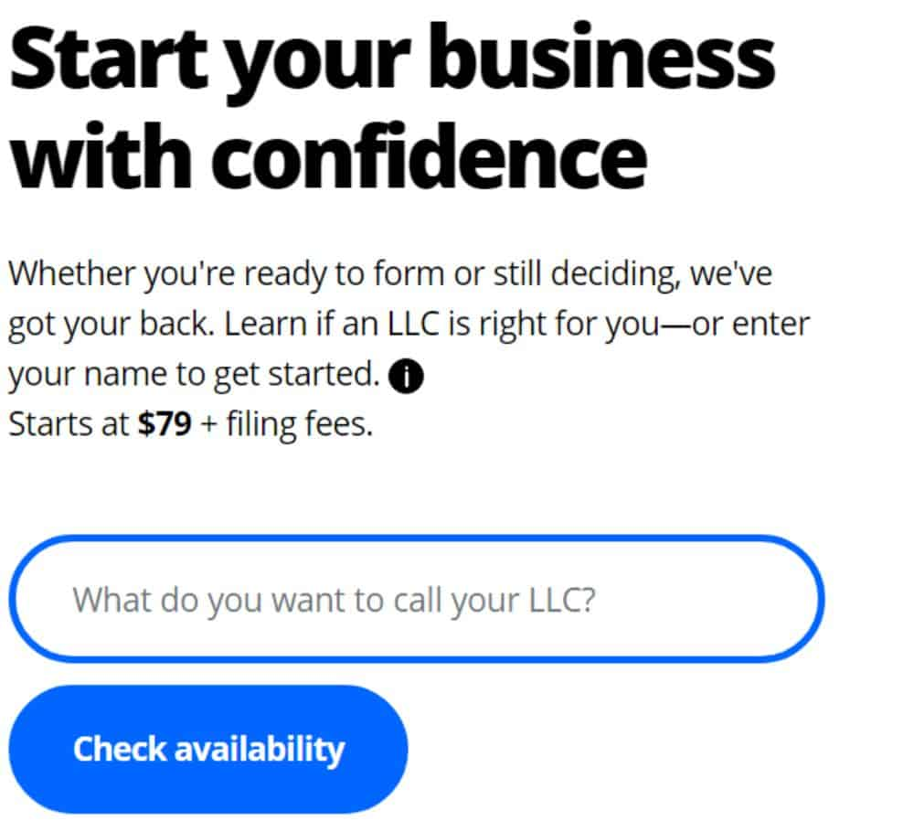 Name Availability Check with LegalZoom.