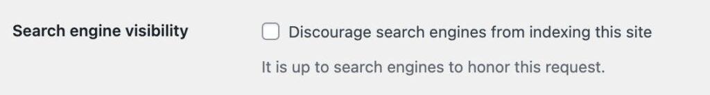 Block search engine box in WordPress Screenshot